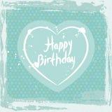 抽象框架grunge 生日快乐,在蓝色背景模板的心脏 向量 图库摄影