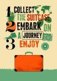 Типографский ретро плакат перемещения grunge с старым чемоданом также вектор иллюстрации притяжки corel Стоковые Фотографии RF