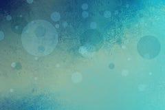 Абстрактная предпосылка голубого зеленого цвета с плавая пузырями или кругами и текстурой grunge Стоковая Фотография RF