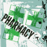 Типографский ретро плакат фармации grunge также вектор иллюстрации притяжки corel Стоковые Изображения RF