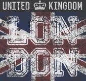 Το σχέδιο εκτύπωσης μπλουζών, γραφική παράσταση τυπογραφίας, Λονδίνο Ηνωμένο Βασίλειο, grunge σημαιοστολίζει τη διανυσματική ετικ Στοκ εικόνα με δικαίωμα ελεύθερης χρήσης