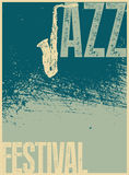 Плакат джазового фестиваля Ретро типографская иллюстрация вектора grunge Стоковая Фотография RF