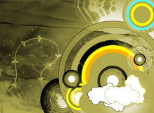 Grunge abstract background with circles. And dark rainbow Stock Illustration