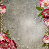 Grunge abstract background with roses Stock Photo