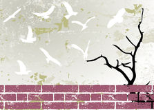 Grunge abstract bird and tree silhouette raster Royalty Free Stock Photo