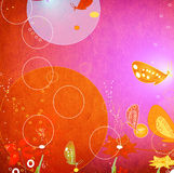 Grunge abstract design with flying butterflies Stock Photography