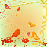 Grunge abstract design with flying butterflies Stock Images