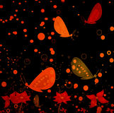Grunge abstract design with flying butterflies Royalty Free Stock Photos