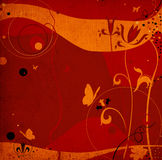 Grunge abstract design with flying butterflies, flowers Royalty Free Stock Image