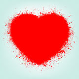 Grunge abstract heart with red splash. EPS 8 vector illustration