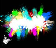 Grunge abstract ink splashes background on a black Stock Images
