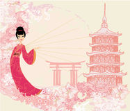 Grunge abstract landschap met Aziatisch meisje Royalty-vrije Stock Afbeeldingen