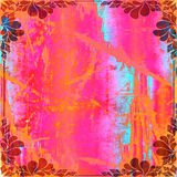 Grunge Abstract Scrapbook Background. In tropical shades of pink, orange, red, and aqua blue Stock Photos