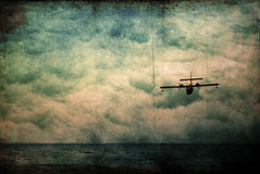 Grunge, abstract background. Grunge, abstract sea, sky and airplane background Royalty Free Stock Photography