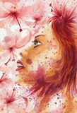 Grunge abstract woman portrait over flowery background. Watercolor on coarse paper vector illustration