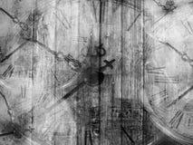 grunge abstracte achtergrond met antieke klokken Royalty-vrije Stock Foto