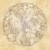 Grunge abstracte wijn, liefdeontwerp Royalty-vrije Stock Afbeelding