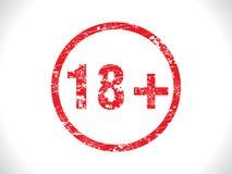 Grunge abstracto de la etiqueta 18+ Fotografía de archivo libre de regalías