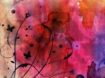 Grunge abstrakcjonistyczny kwiecisty tło - kolaż Obrazy Royalty Free