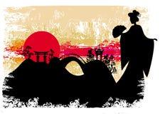 Grunge abstrakta krajobraz z Azjatycką dziewczyną ilustracji