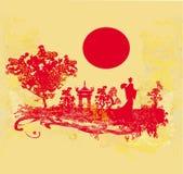 Grunge abstrakta krajobraz z Azjatycką dziewczyną Zdjęcia Stock