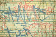 Grunge achtergrondgraffitti op de bakstenen muur royalty-vrije illustratie