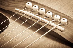 Grunge acoustic guitar bridge Royalty Free Stock Photo