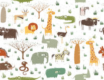 Grunge African Animals Seamless Pattern Royalty Free Stock Photography