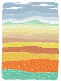 Grunge African Landscape: Savannah stock illustration