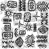 Grunge African symbols background Stock Image