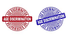 Grunge AGE DISCRIMINATION Scratched Round Stamps. Grunge AGE DISCRIMINATION round stamp seals isolated on a white background. Round seals with grunge texture in vector illustration
