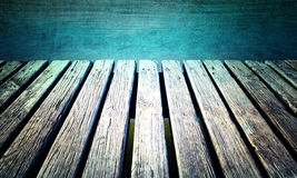 Grunge aged sunny wooden pier Stock Image