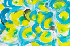 Grunge akvarel splatter farby tło, kolor żółty, szartreza, bl Fotografia Royalty Free