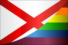 Grunge Alabama y banderas gay ilustración del vector