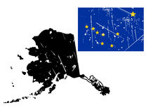 Grunge alaska map with flag Stock Image