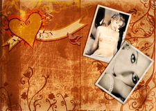 Grunge album page with bride Royalty Free Stock Photos
