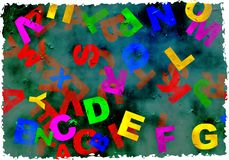 Grunge alphabet. Letters of the alphabet on stained grunge textured background paper with ragged edges Stock Photos