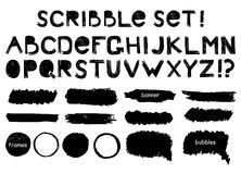 Grunge alphabet,  banner, bubbles and frame  vector set Stock Photography
