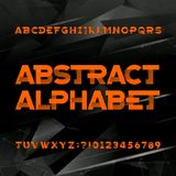 Grunge alphabet font. Hand drawn letters and numbers on a black background. Stock Photo