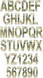 Grunge alphabet with scratches Royalty Free Stock Photography