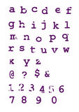 Grunge alphabet typographic letters stock photography