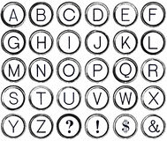 Grunge Alphabet from Vintage Typewriter Keys Royalty Free Stock Photo