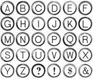Grunge Alphabet from Vintage Typewriter Keys vector illustration