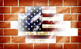 Grunge of america 4th july. And old brick with space Stock Photos