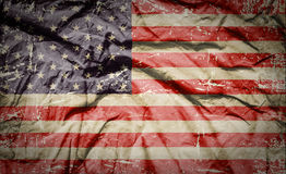 Grunge American flag. Closeup of grunge American flag stock images