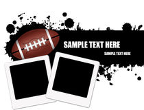 Grunge american football background. Grunge american football ball background with instant photos,  illustration Stock Photos