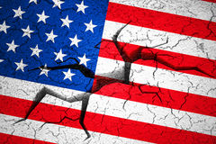 Grunge American USA flag, broken crack wall with hole Royalty Free Stock Photography