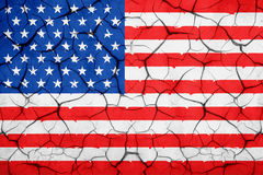 Grunge American USA flag, broken crack wall with rift Royalty Free Stock Image