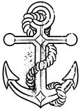 Grunge anchor. Grunge illustration of anchor and rope Stock Photo