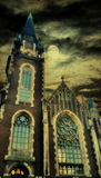 Grunge ancient cathedral tower Royalty Free Stock Photography